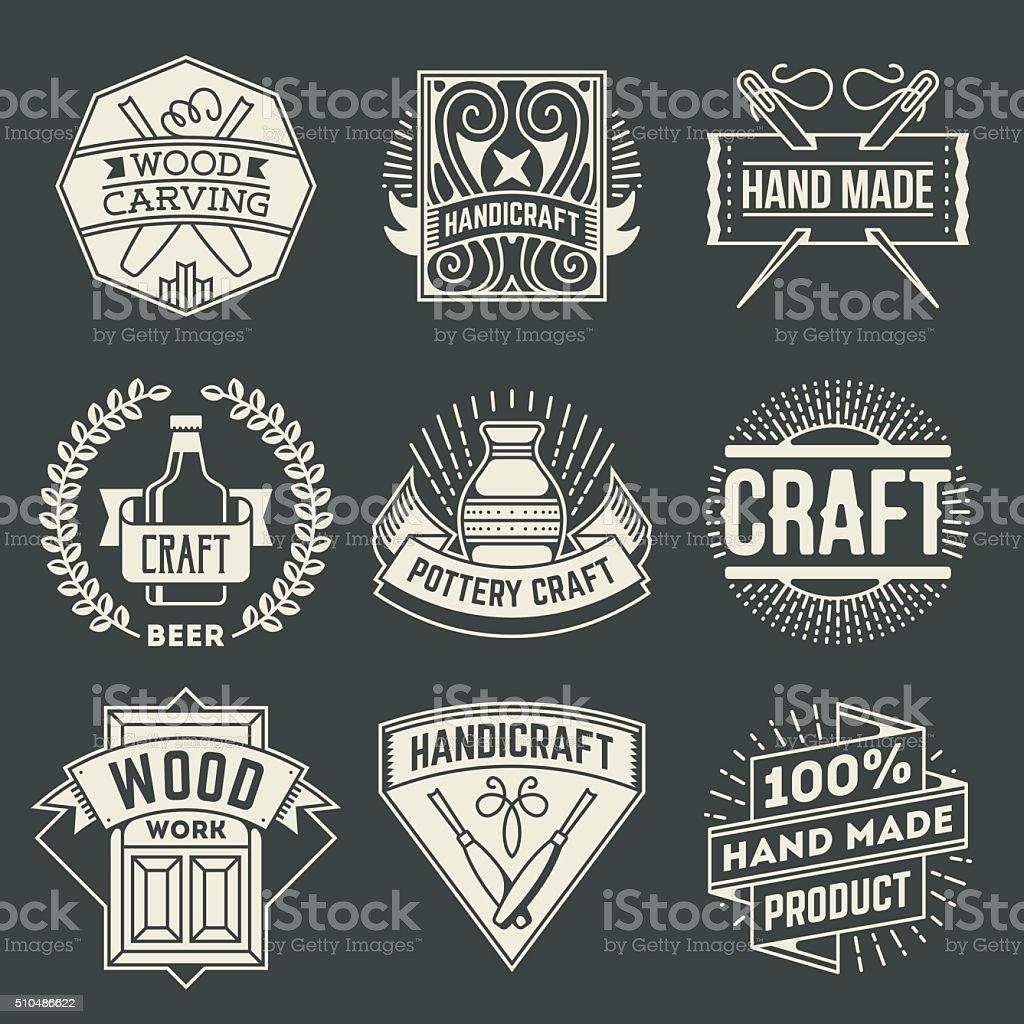 Hand Craft Insignias Logotypes Template Set. vector art illustration