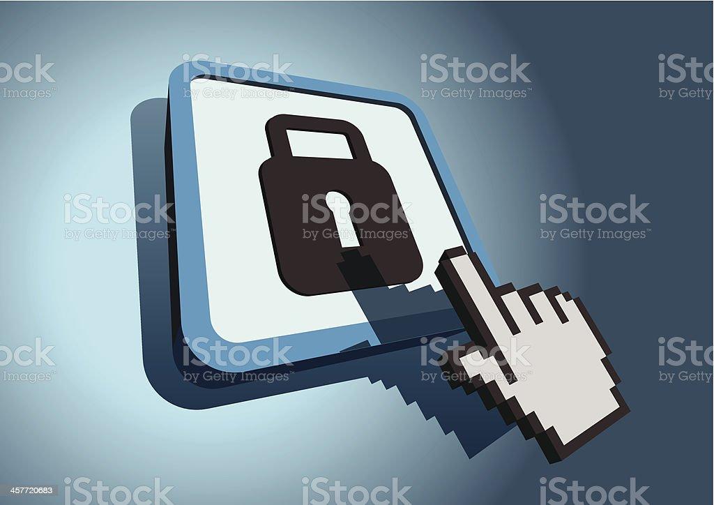 Hand cursor hitting locking icon royalty-free stock vector art