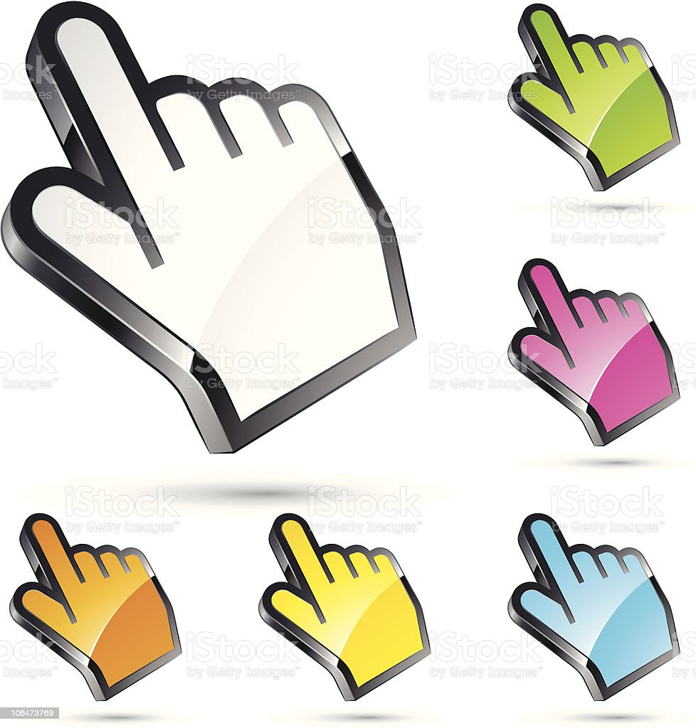 Hand cursor model in different colors royalty-free stock vector art