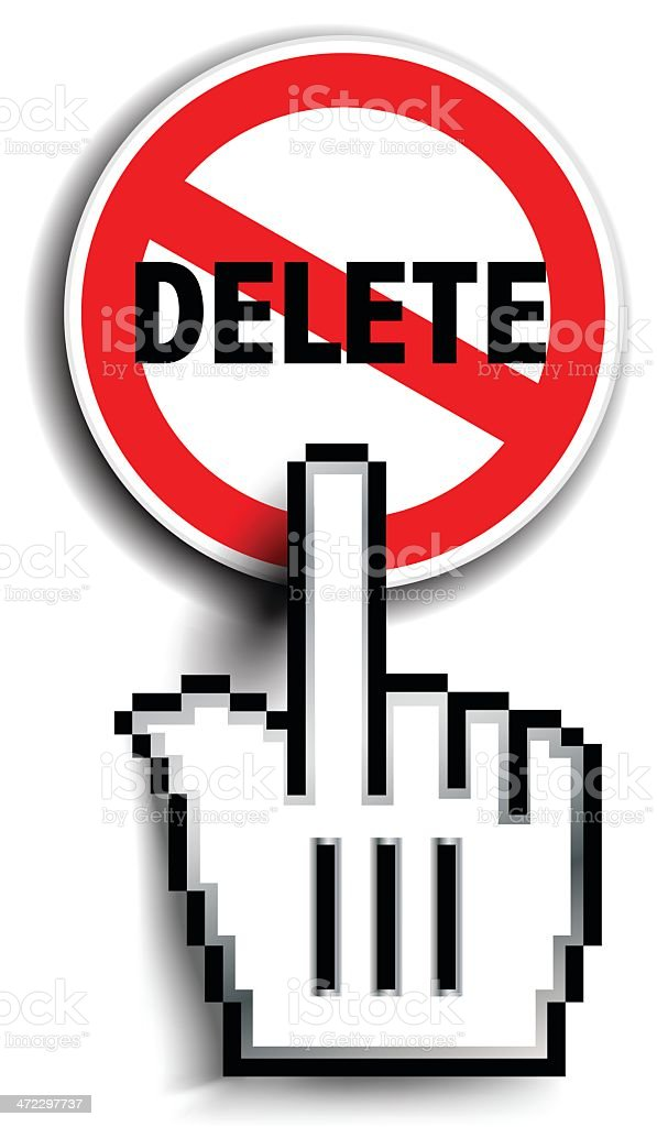 Hand Cursor On Delete Sign royalty-free stock vector art