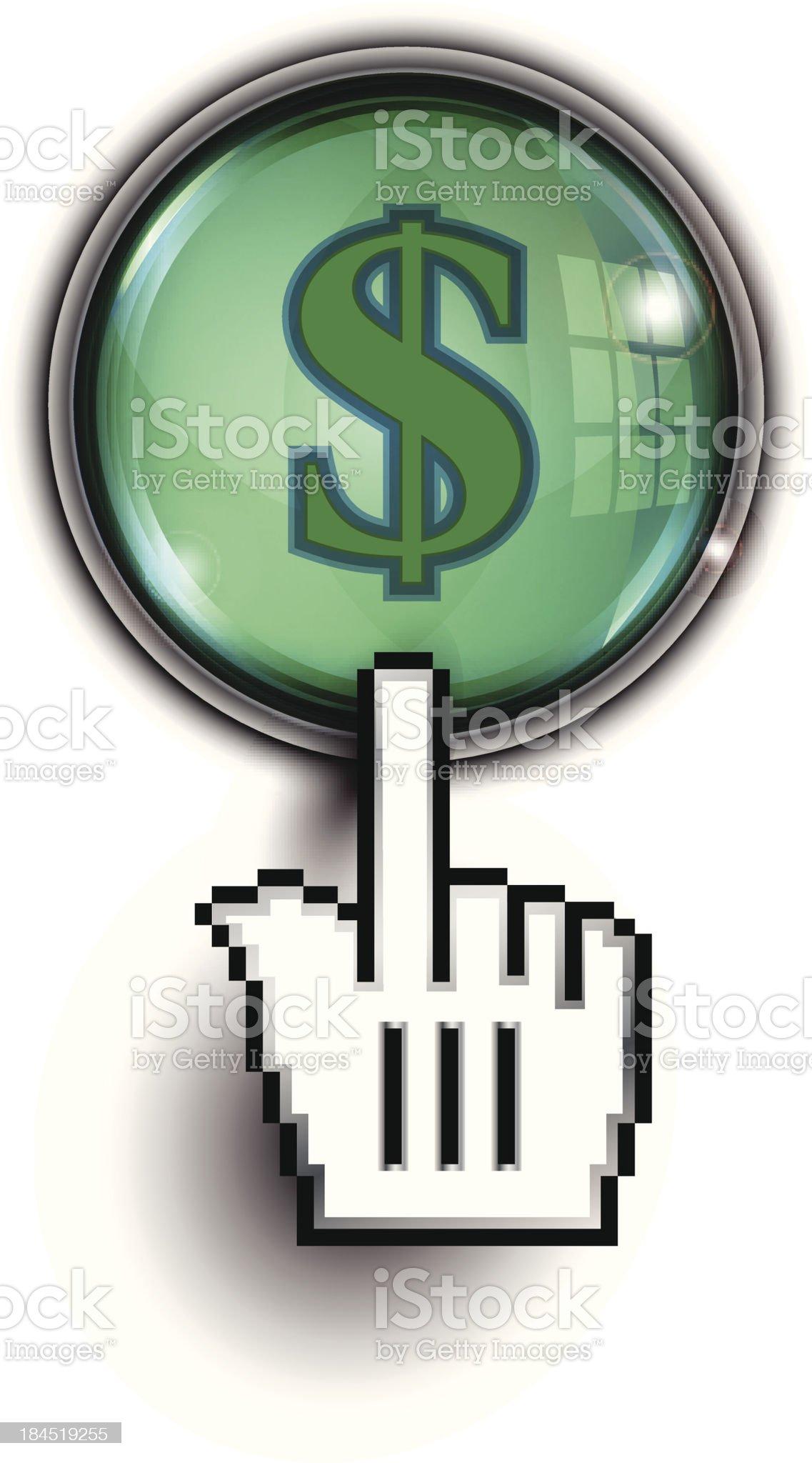 Hand Cursor on Glass Button | Dollar Symbol royalty-free stock vector art