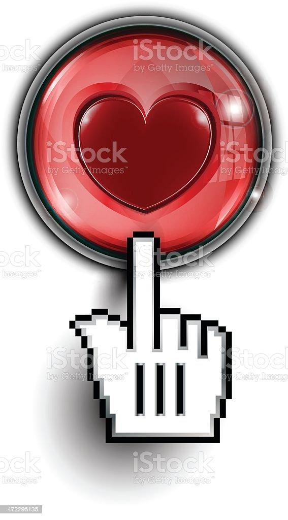 Hand Cursor on Glass Button | Heart royalty-free stock vector art