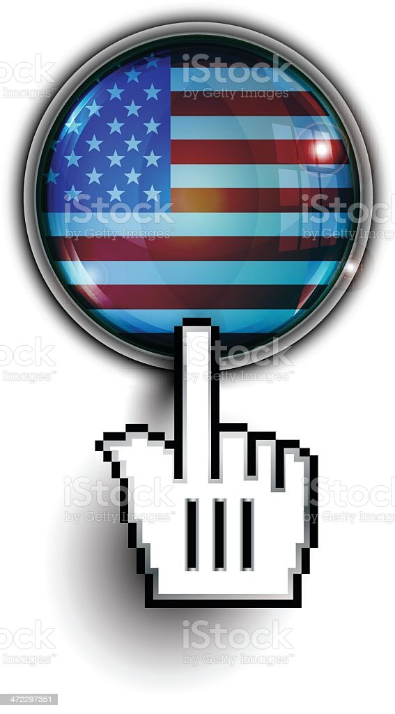 Hand Cursor on Glass Button | USA Flag royalty-free stock vector art