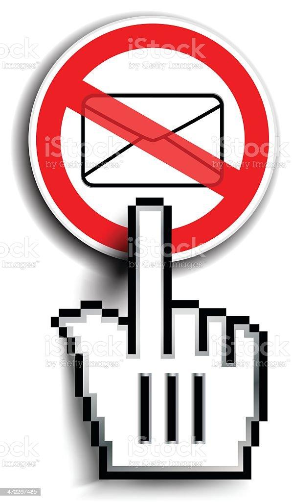 Hand Cursor On Spam Warning Sign royalty-free stock vector art