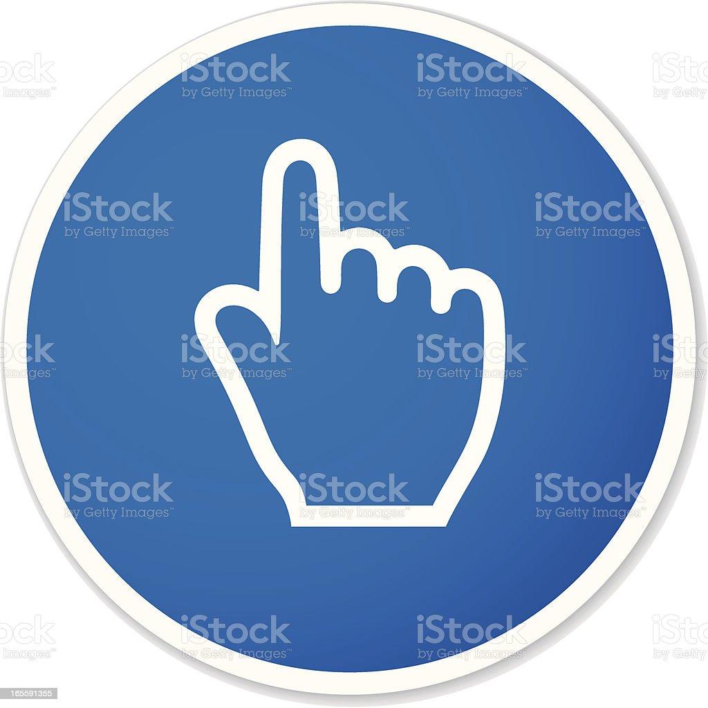 hand cursor round sticker royalty-free stock vector art