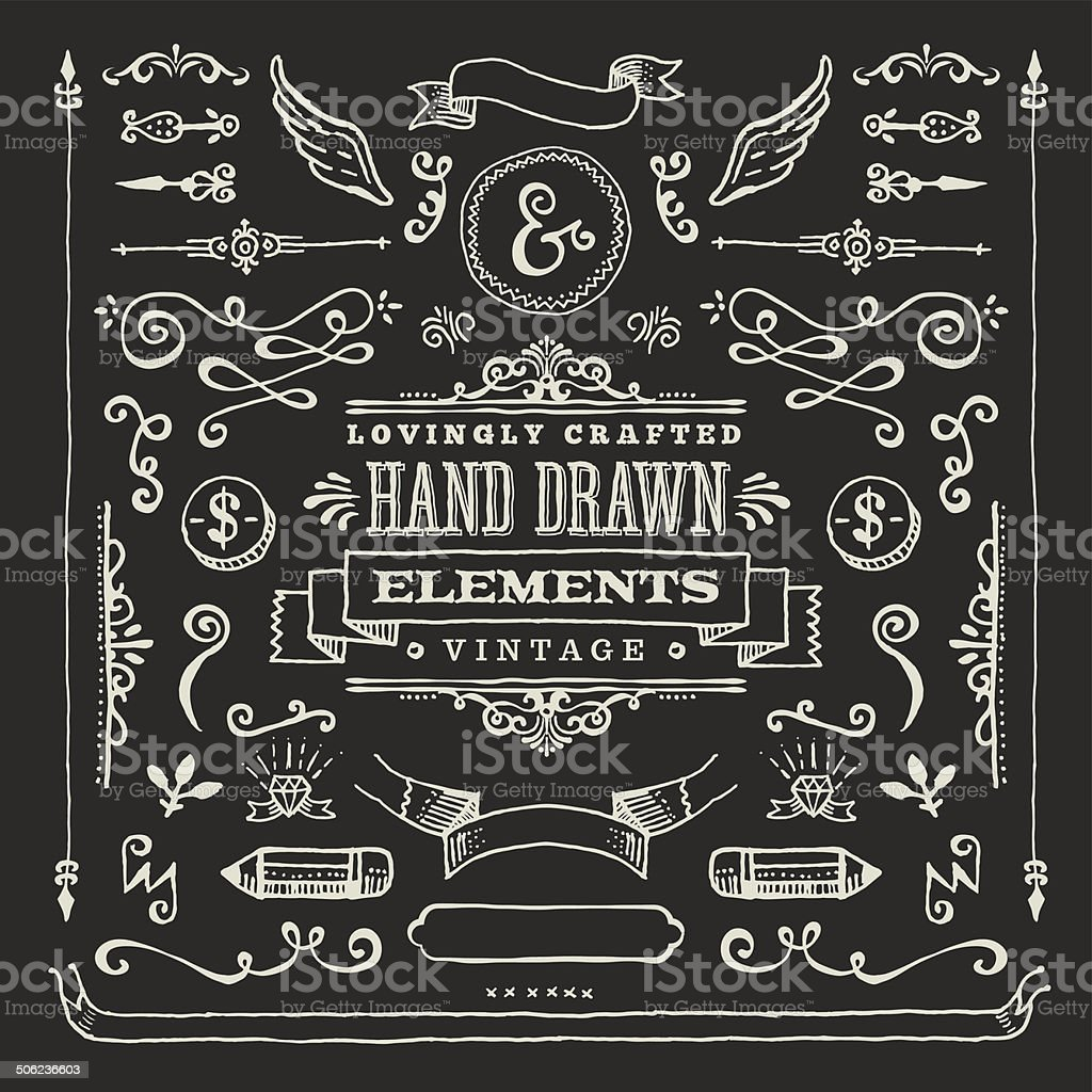 Hand Dawn Blackboard Design Elements vector art illustration