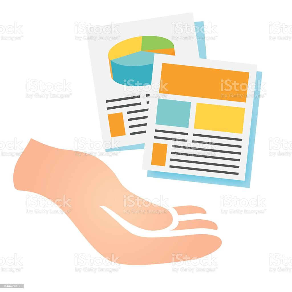 Hand Delivering Reports and Collateral vector art illustration