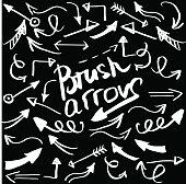 Hand draw brush arrow. Sketch design concept arrow.