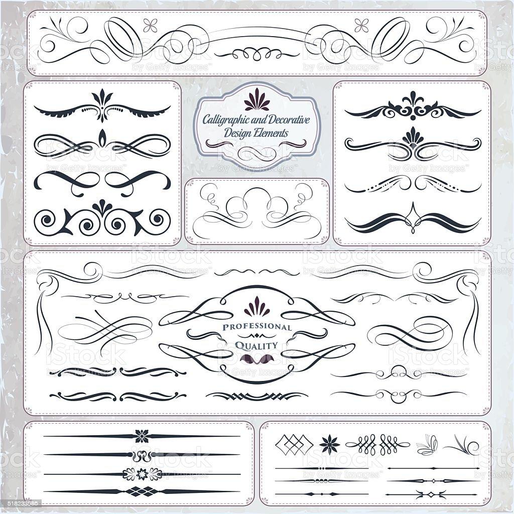 Hand Draw Calligraphic and Decorative Design Elements vector art illustration