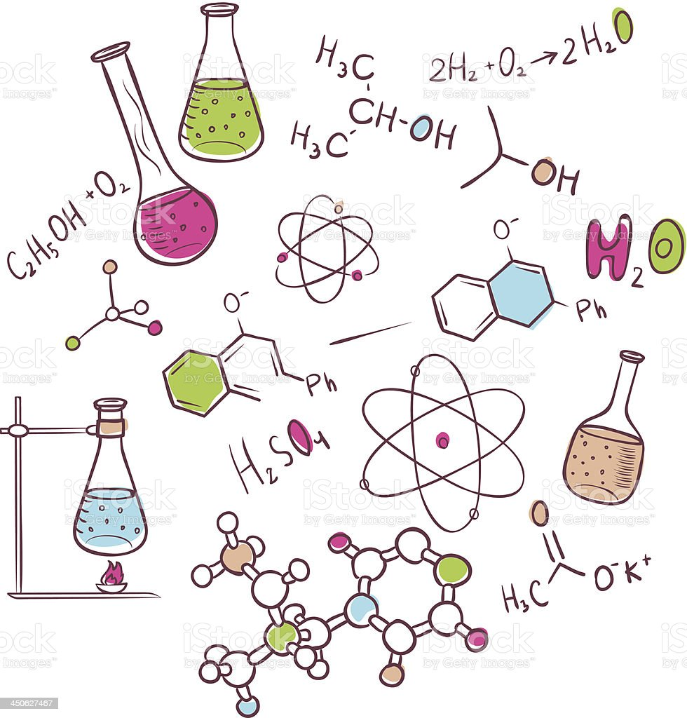 Hand draw chemistry background royalty-free stock vector art