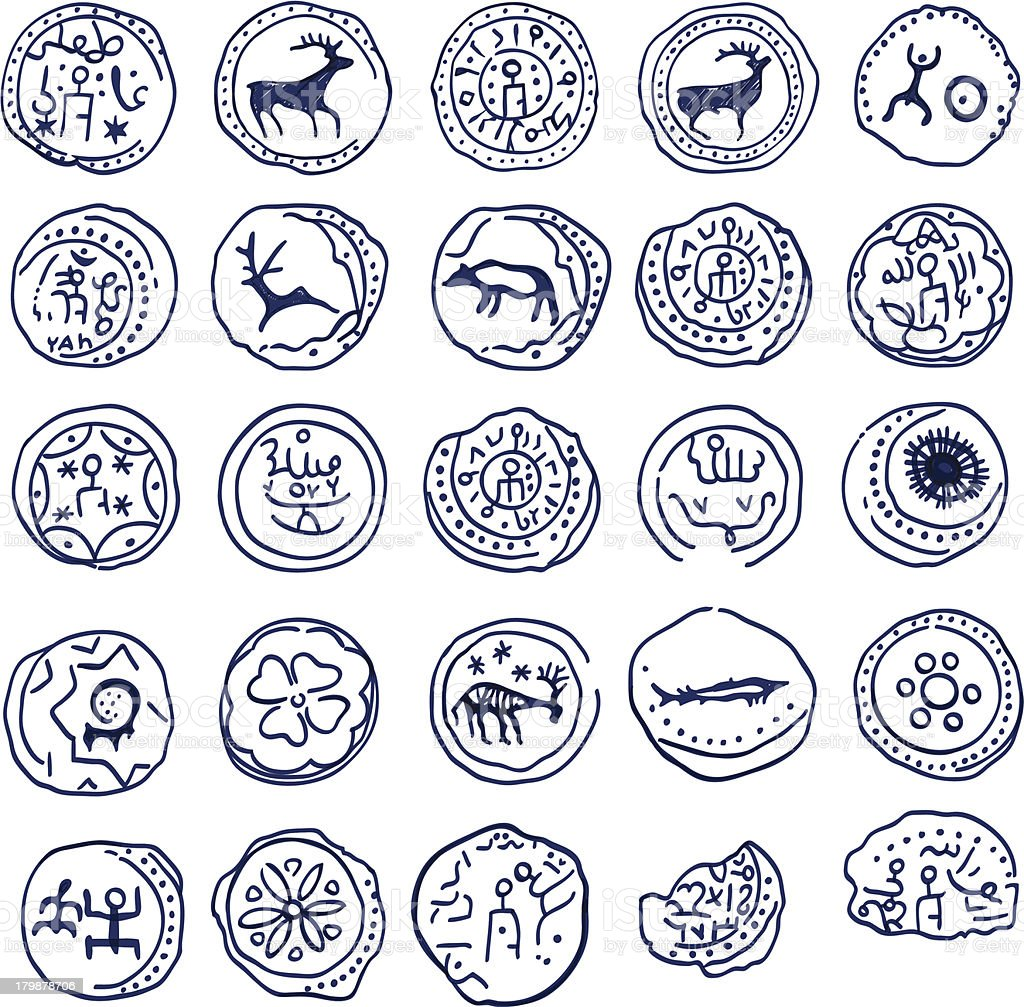 Hand draw coins. Rock paintings vector art illustration