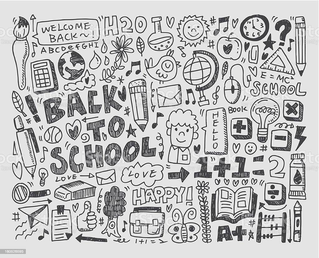 hand draw doodle school element vector art illustration