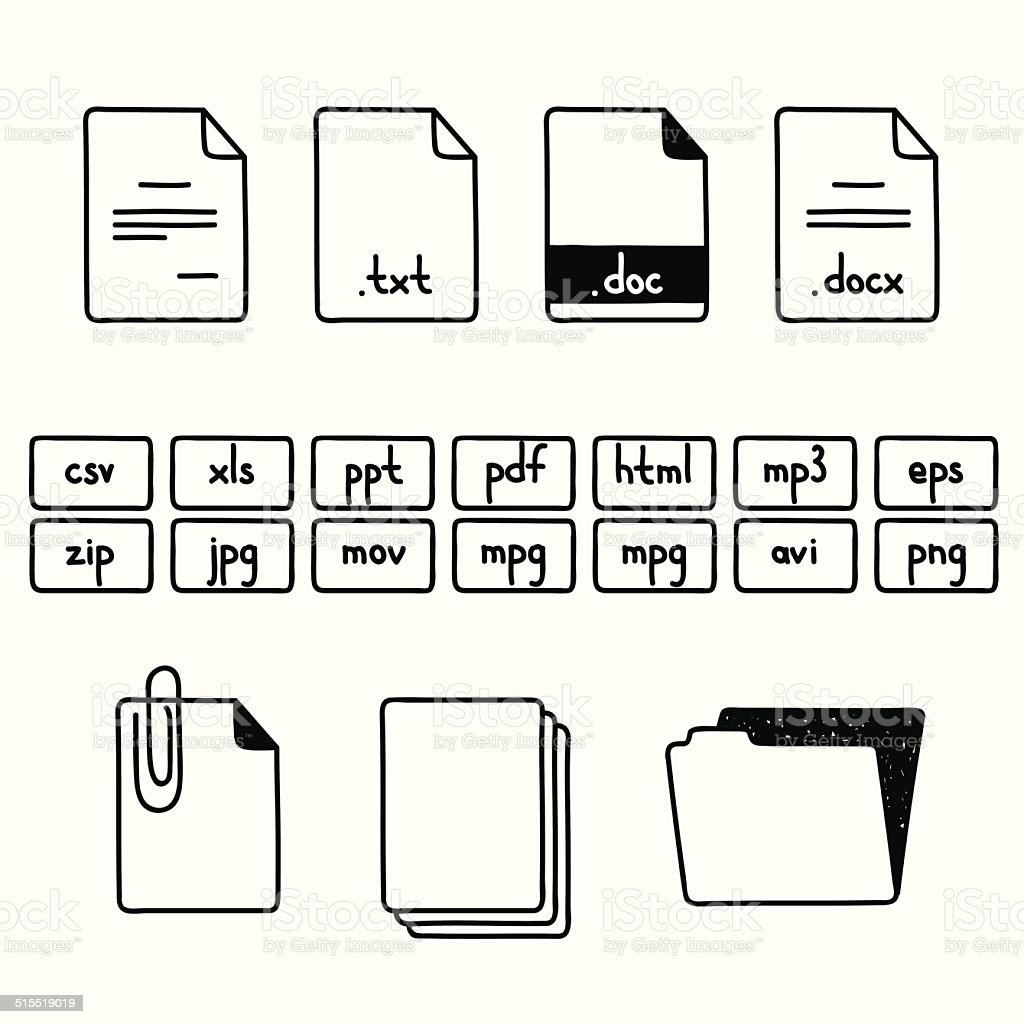 Hand draw doodle sketch set of document file fomats icons vector art illustration