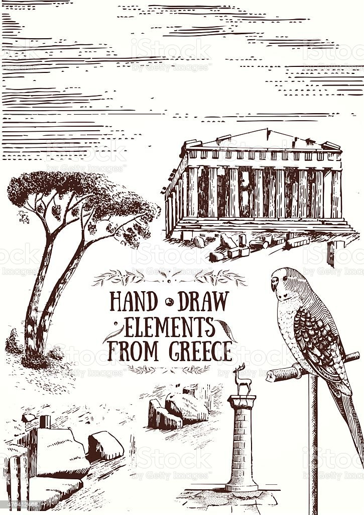 Hand Draw Elements from Greece vector art illustration