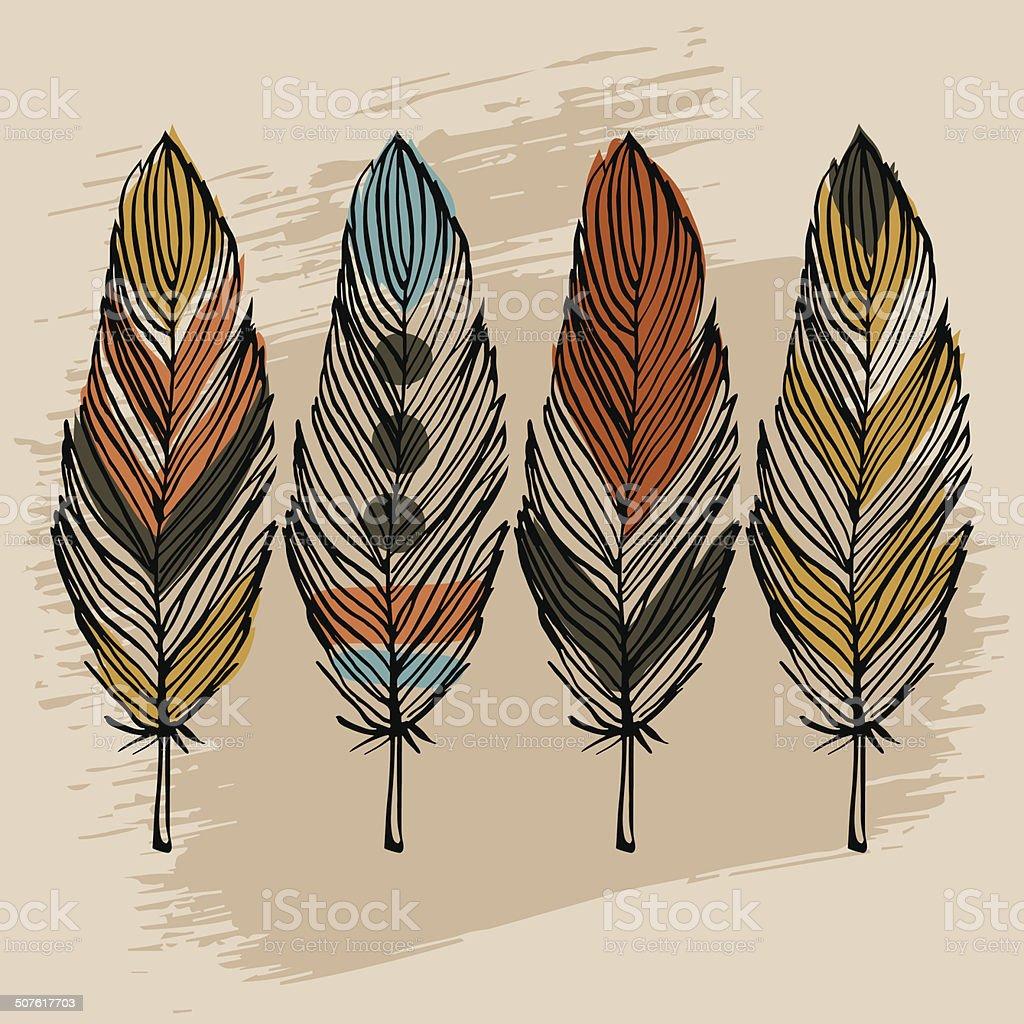 Hand draw feather set vector art illustration