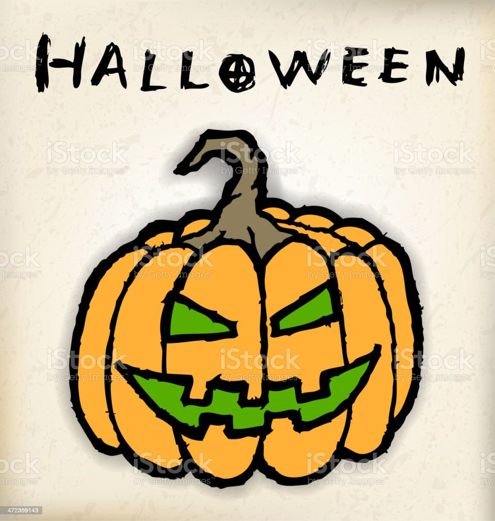 Hand draw halloween pumpkin vector art illustration