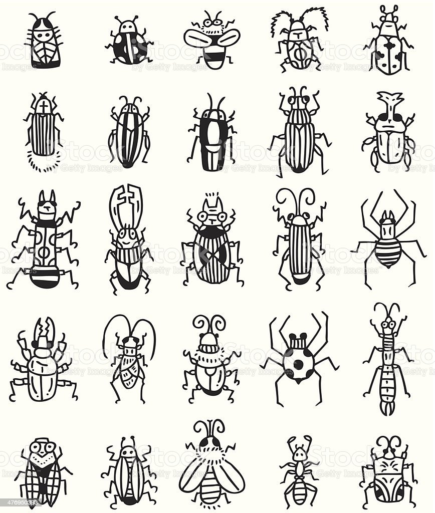 hand draw insect icon royalty-free stock vector art