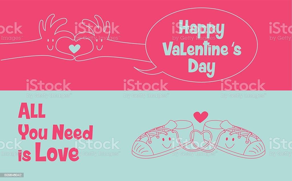 hand draw love ,couple of love, valentine vector art illustration