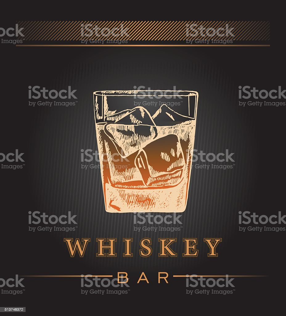 Hand draw whiskey label. vector art illustration