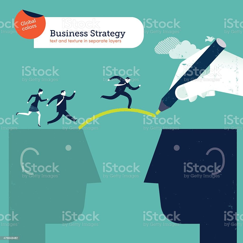 Hand drawing a bridge between two heads businesspeople crossing over vector art illustration