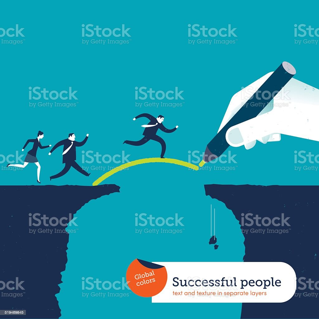 Hand drawing a bridge over an abyss for businesspeople vector art illustration