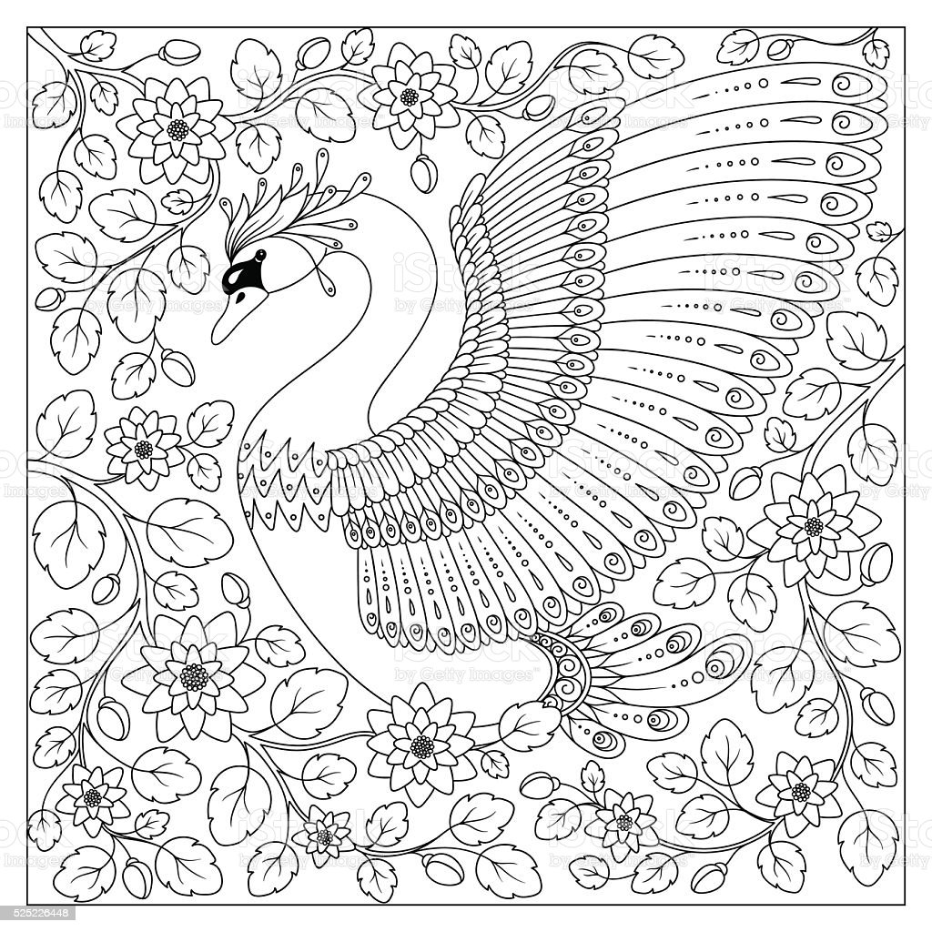 hand drawing artistic swan in flowers for coloring pages