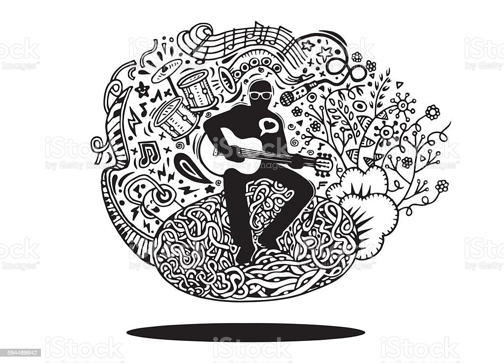 Hand drawing Doodles musician playing guitar and sings vector art illustration