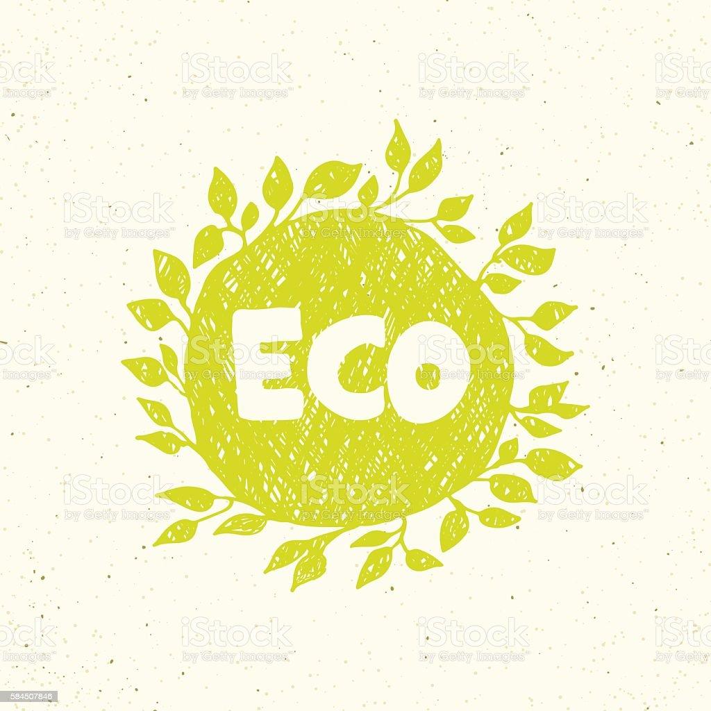Hand drawing eco logo templates. vector art illustration