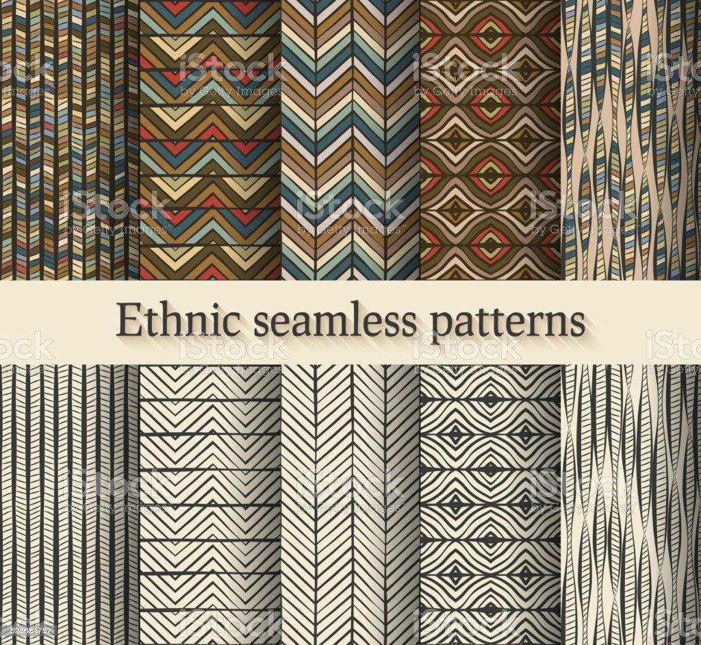 hand drawing ethnic seamless patterns set vector art illustration