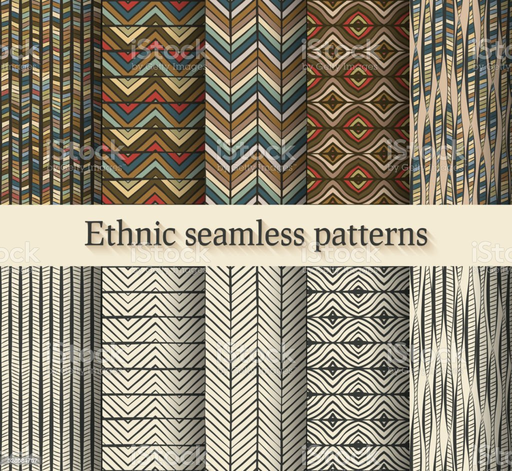 hand drawing ethnic seamless patterns set vector art illustration