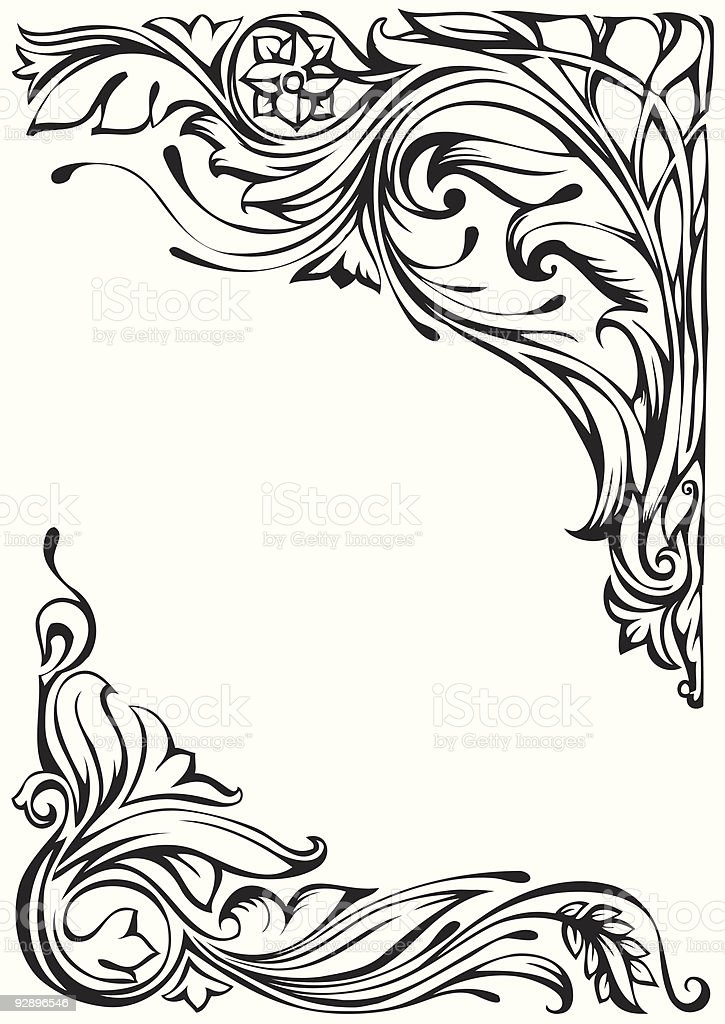 Hand drawing floral ornament royalty-free stock vector art