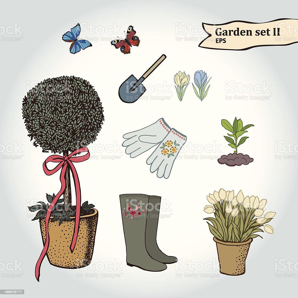Hand drawing garden set II vector art illustration