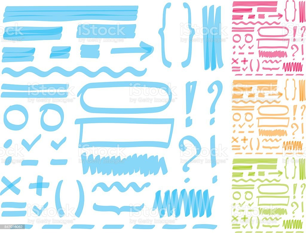 Hand drawing highlighter elements for select and edit text. vector art illustration