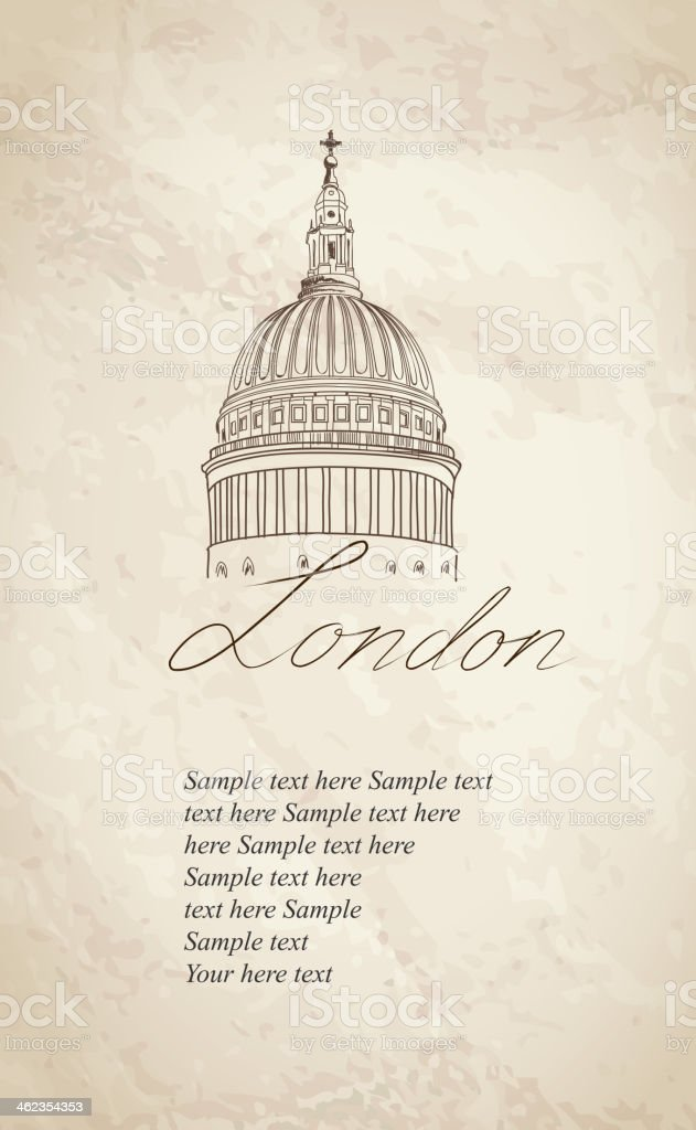Hand drawing of St Paul Cathedral, London, UK on tan paper vector art illustration