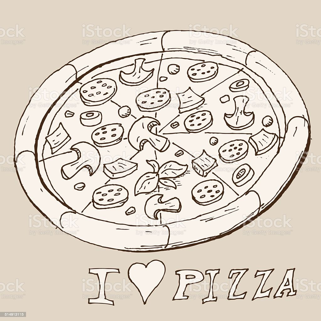Hand drawing pizza vector art illustration