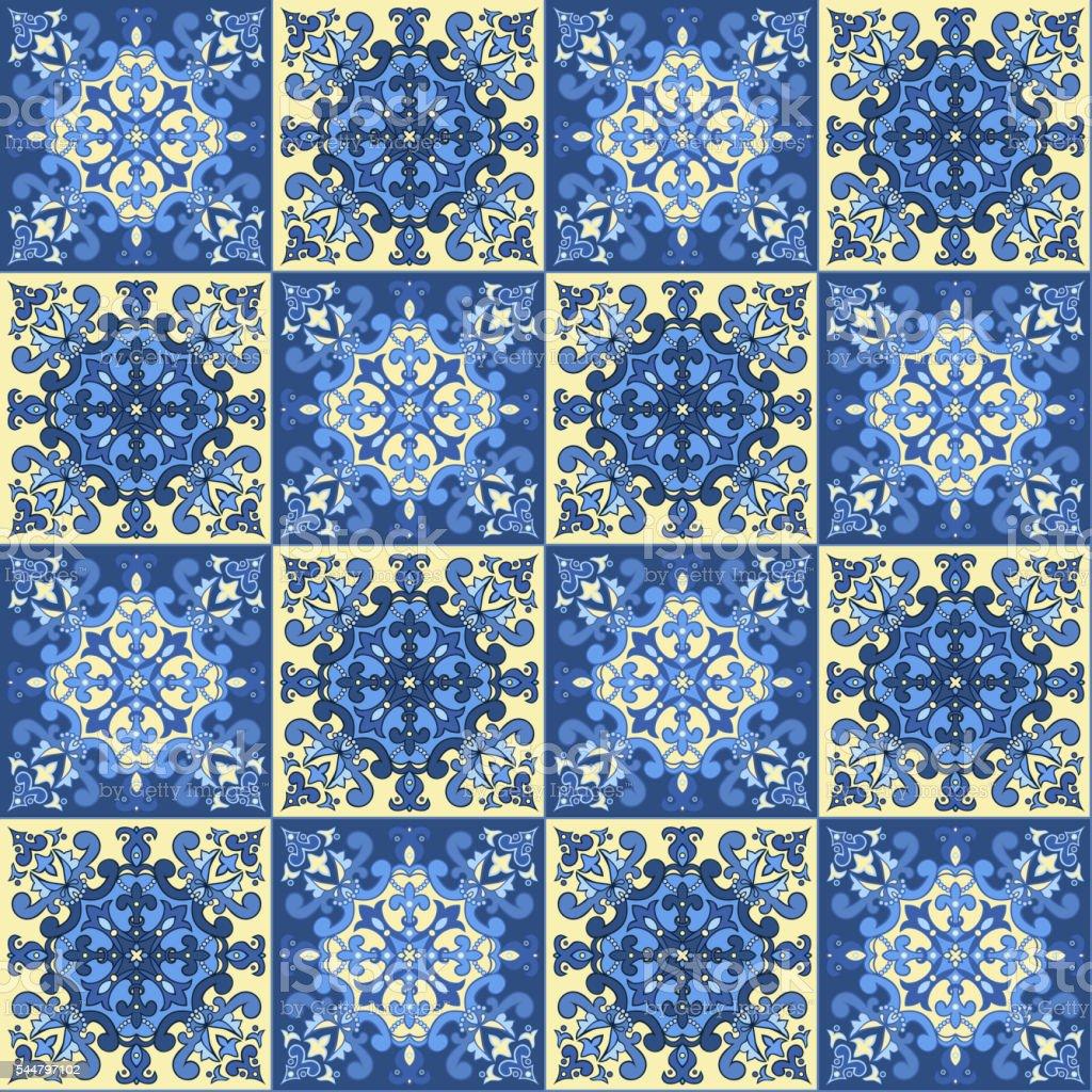 Hand drawing seamless pattern for tile vector art illustration