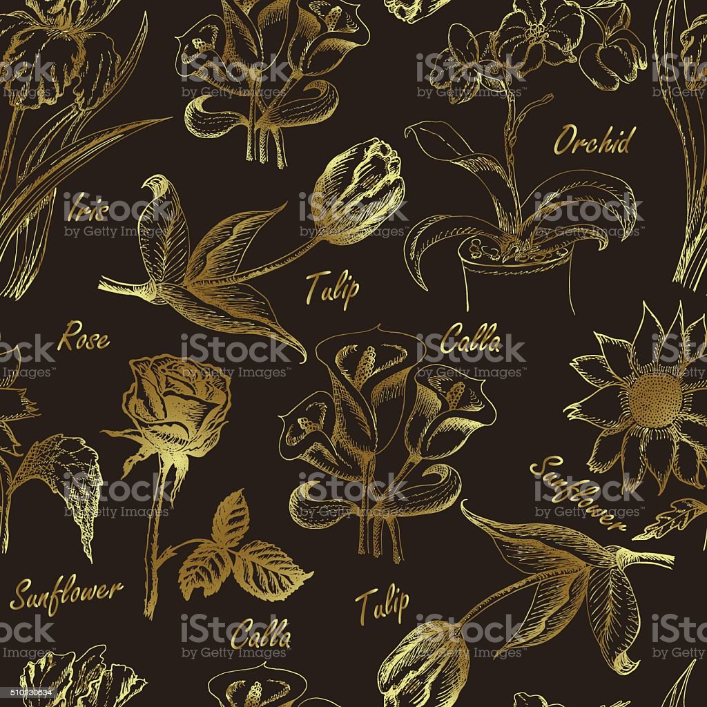 Hand drawing seamless pattern of flowers vector art illustration