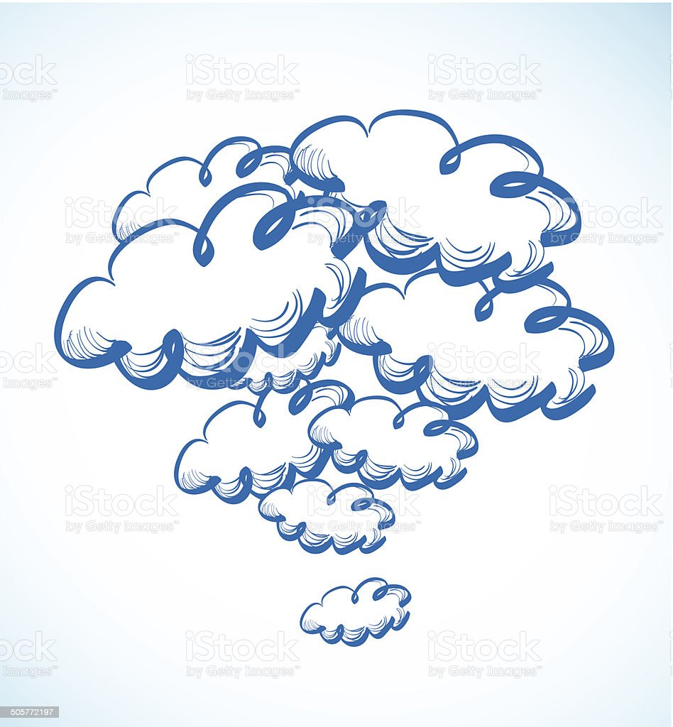 Hand drawing sky with clouds royalty-free stock vector art