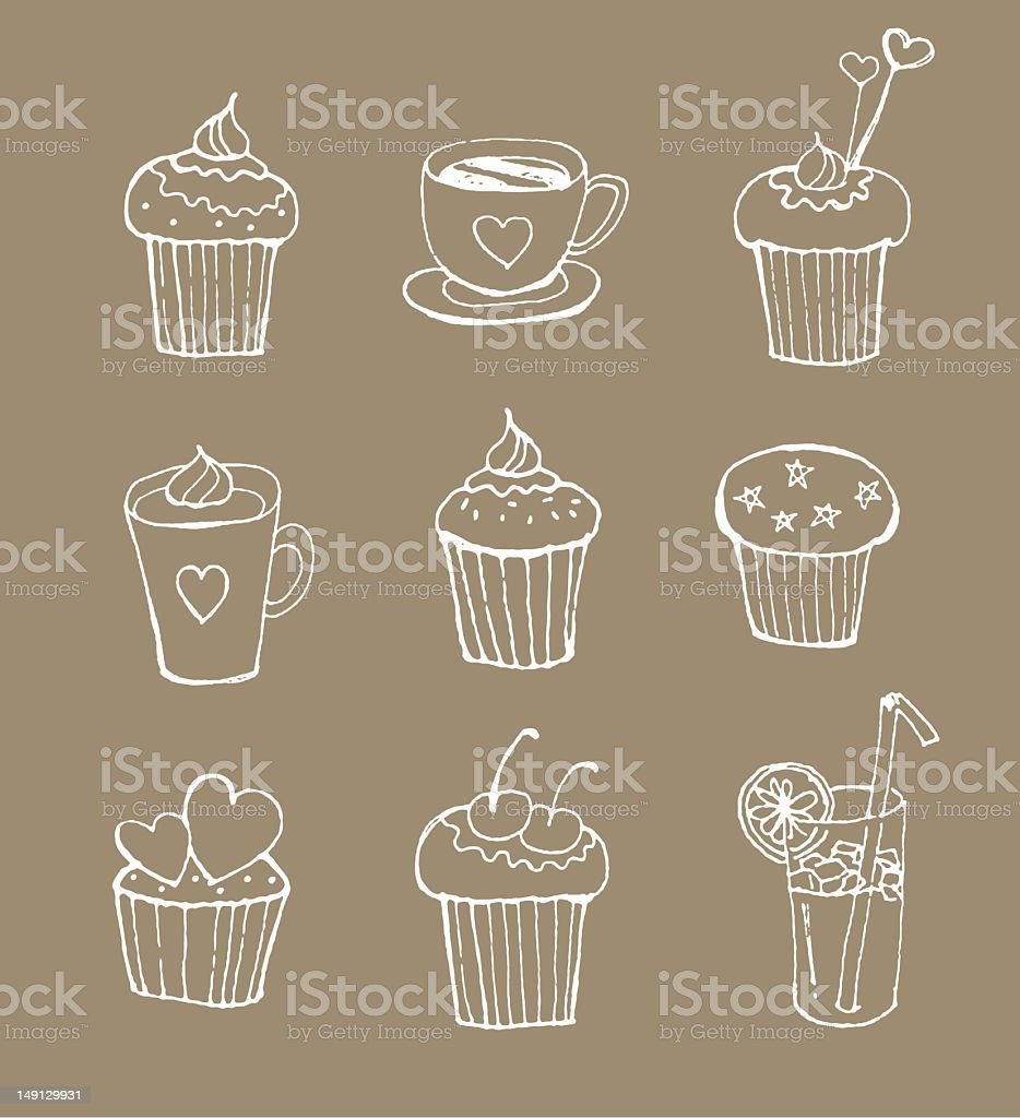 hand drawing style cupcakes with drinks vector art illustration