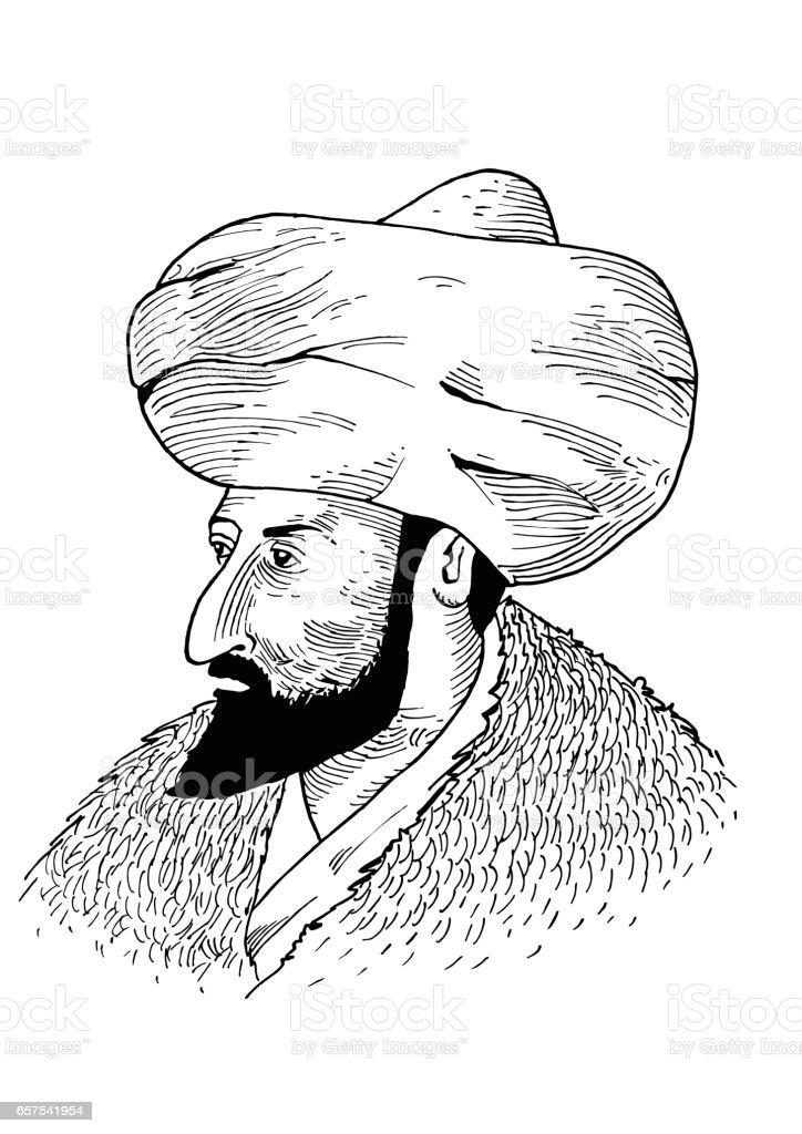 Hand drawing Sultan vector art illustration