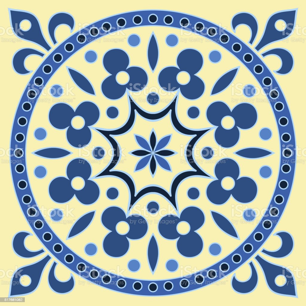 Hand drawing tile pattern in  blue and yellow colors vector art illustration