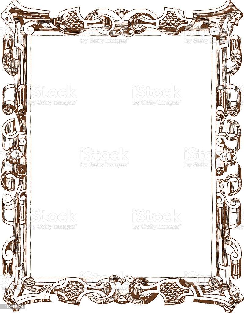 Hand drawing vintage frame vector art illustration
