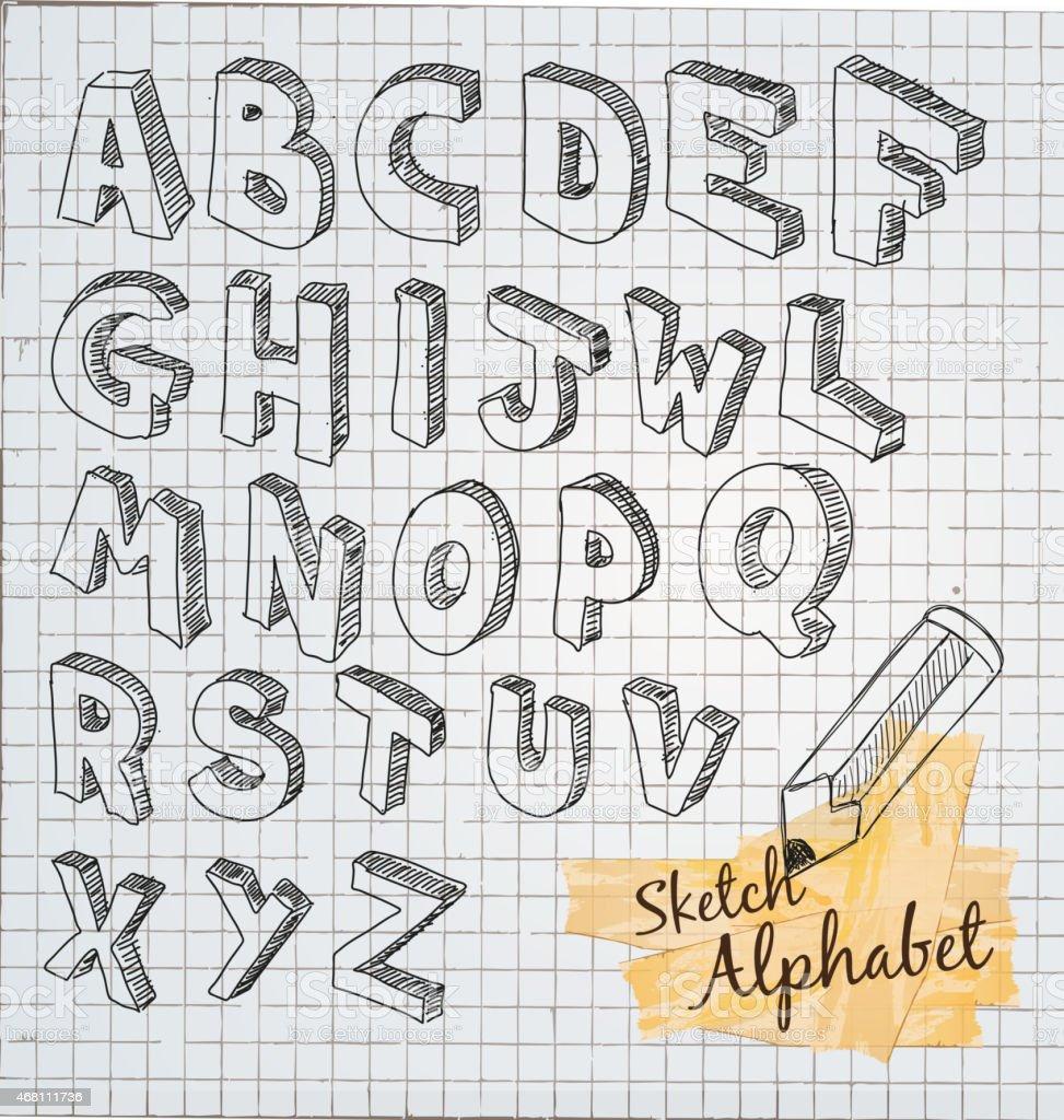 Hand Drawn 3D sketch alphabet vector art illustration