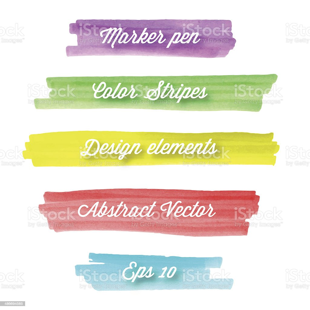 Hand drawn abstract colorful stripes. vector art illustration