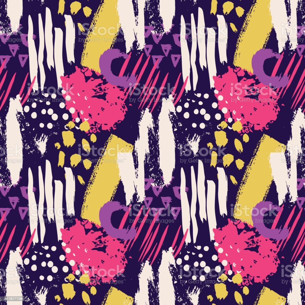 Hand drawn abstract grunge vector seamless pattern. Background painted with ink. Yellow pink violet white color. Grange and school style for kid, children, teen. Bright and summer vector art illustration