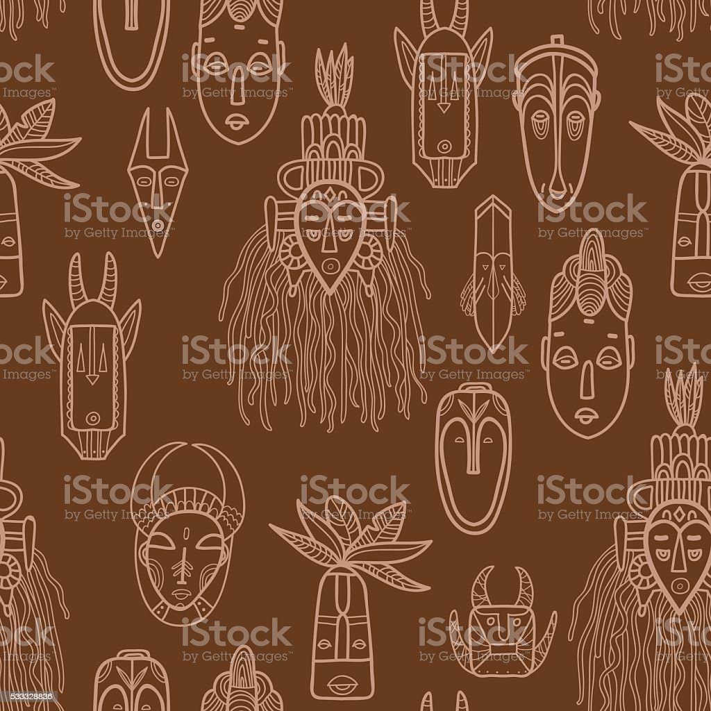 Hand drawn african masks. Seamless vector pattern. vector art illustration