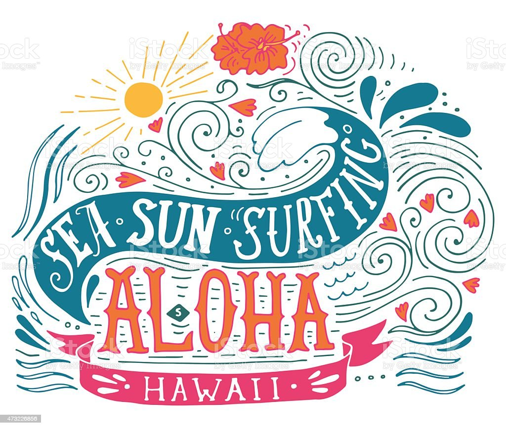Hand drawn aloha print with a wave, sun, flowers vector art illustration