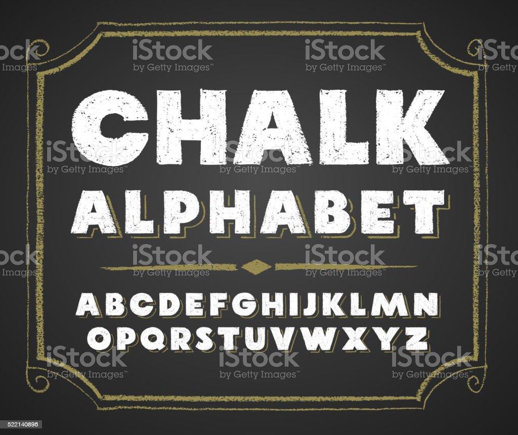 Hand drawn alphabet on chalkboard vector art illustration