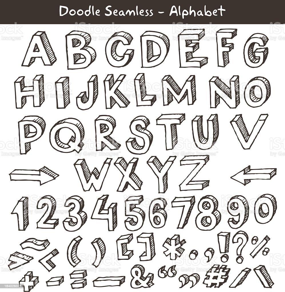 Hand drawn alphabet vector art illustration