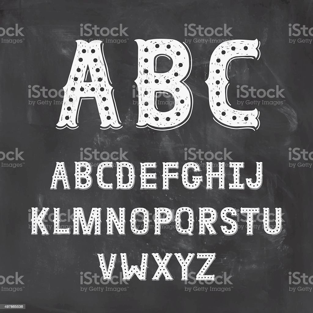 Hand Drawn Alphabet with Vintage letters vector art illustration